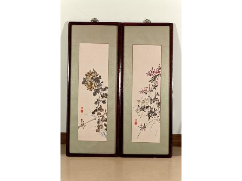 【三毛畫作-《杜鵑》(左)、《黃菊》(右)】