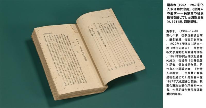 《台灣人の要求──民眾黨の發展過程を通じて》 1902─1969